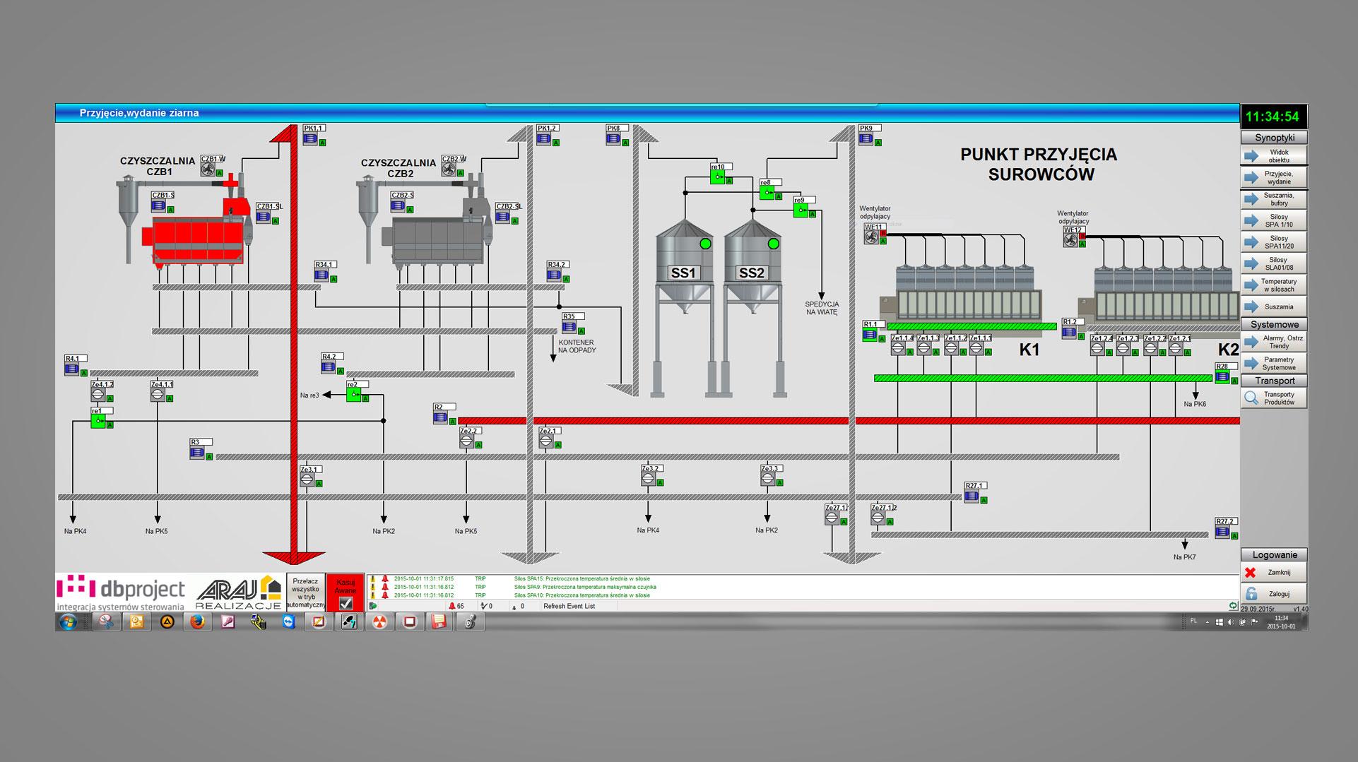 Punkt przyjęcia i czyszczenia surowców - wizualizacja DB Project - Allen-Bradley