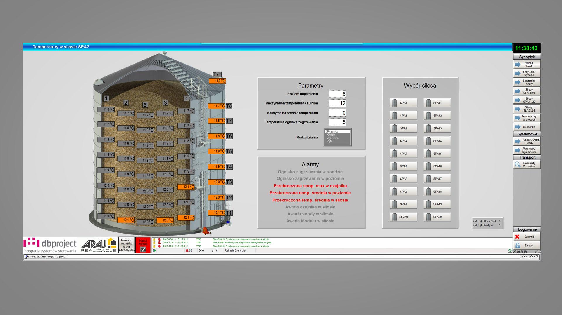 Rozkład temperatury ziarna w silosie - wizualizacja DB Project